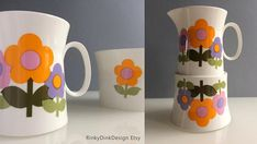 Dolly Days Hostess Tableware, Fine Bone China, Shape & Design by John Russell daisies, flower power / Jug and Sugar bowl Lilac, Pink, Shape Design, Orange Flowers, Sugar Bowl, Bone China, Flower Power, Bones, Daisy