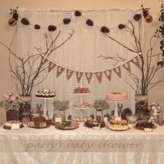 rustic baby shower deer theme country pink little deer woodland crafty DIY baby girl burlap banner pinecone garland