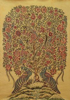 Tree of Life Kalamkari Fine Art Original Painting Exquisite Detail Novica India   eBay