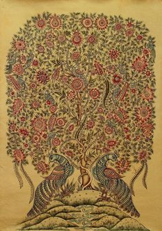 Tree of Life Kalamkari Fine Art Original Painting Exquisite Detail Novica India | eBay