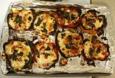 Roasted Bell Peppers Stuffed with Goat Cheese, Mozzarella andTomatoes