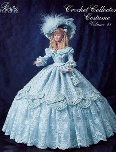 1852 Tea Party Gown for Barbie Paradise vol. 41 Crochet PATTERN NEW (NO DOLL). This pattern leaflet contains instructions for making the outfit shown which is sized to fit an fashion doll like Barbie.Barbie dolls residences, everything from tradition Crochet Doll Dress, Crochet Barbie Clothes, Crochet Doll Pattern, Crochet Patterns, Crochet Dresses, Barbie Gowns, Barbie Dress, Barbie Doll, Doll Dresses