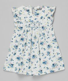 Look at this White Floral Smocked Angel-Sleeve Dress - Infant & Toddler on #zulily today!