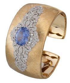 Diamond Bracelets, Cuffs & Bangles : The Gryphon's Nest — Diamond & Sapphire Cuff by Buccellati! - Buy Me Diamond Ruby Bracelet, Sapphire Bracelet, Diamond Bracelets, Diamond Jewelry, Bangle Bracelets, Sapphire Diamond, Ceylon Sapphire, High Jewelry, Jewellery