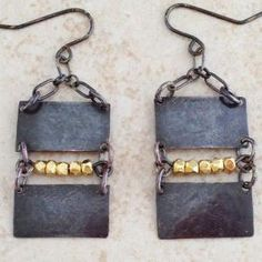 Sterling Silver Rectangles with Gold Filled Beads Earrings..Danyael Designs by jeanne