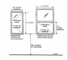 1000 ideas about standard window sizes on pinterest for Bedroom window egress requirements