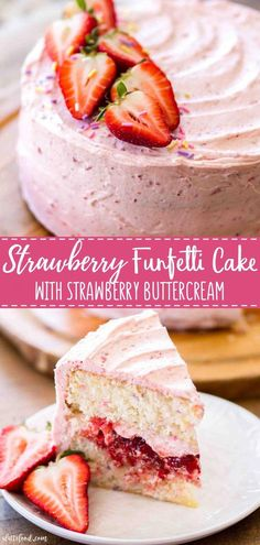 The best homemade strawberry funfetti cake starts with a funfetti vanilla cake and ends with an easy (homemade!) strawberry buttercream. It also has a strawberry cake filling inside. This strawberry funfetti cake with sprinkles makes an easy birthday cake recipe or a birthday dessert! #birthday #cake #recipe #strawberry #dessert #ChocolateRaspberryCake Easy Birthday Cake Recipes, Homemade Birthday Cakes, Homemade Cakes, Simple Birthday Cakes, Best Birthday Cakes, Vanilla Birthday Cake Recipe, Birthday Cake Alternatives, Best Vanilla Cake Recipe, Cake Filling Recipes