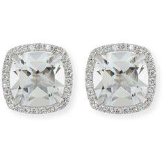 Frederic Sage 18K White Gold White Topaz Diamond Halo Stud Earrings found on Polyvore featuring polyvore, women's fashion, jewelry, earrings, accessories, 18 karat gold jewelry, 18k jewelry, earring jewelry, stud earrings and 18k earrings