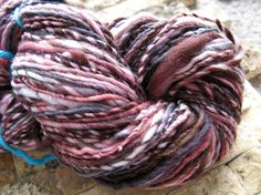 Handspun Charcoal, Pink and Chocolate Brown Merino Wool Yarn