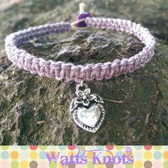 Macrame Square Knot Bracelet, Purple Metallic Hemp, Natural Hemp, Heart Charm #wattsknots