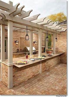 Pergola concept. Pergola ideas for back patio. Pergola colors. Brick and Pergola.