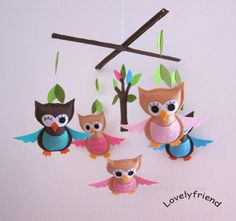 """Baby Mobile, Baby Crib Mobile, Mobile, Crib mobile, Felt baby Mobile, Felt crib mobile, owl baby mobile, """"pink and blue owls design"""" by lovelyfriend on Etsy https://www.etsy.com/listing/97836425/baby-mobile-baby-crib-mobile-mobile-crib"""
