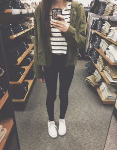 stripes • camo green oversized cardigan • white converse • tumblr fashion • teen style • cute clothes • outfit • grunge • winter • autumn • cold sweater weather • fall