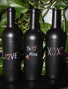 Chalkboard Paint Wine Bottles.