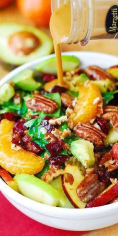 Cranberry Spinach Salad, Spinach Salad Recipes, Salad Bar, Soup And Salad, Vegetarian Recipes, Cooking Recipes, Healthy Recipes, Cooking Ideas, Vegetarian Salad