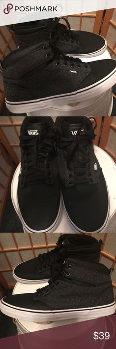 VANS - MENS SIZE 12 gray and black high tops These shoes were only worn a few times, he just didn't care for them! Excellent used condition without box! Bundle and save! Vans Shoes Chukka Boots