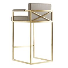 Shop the Xenia Modern Classic Grey Leather Upholstered Satin Brass Bar Stool and other Bar & Counter Stools at Kathy Kuo Home