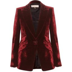 Emilio Pucci Velvet Blazer (97.300 RUB) ❤ liked on Polyvore featuring outerwear, jackets, blazers, coats, tops, red, blazer jacket, red velvet jacket, velvet blazers and brown blazer