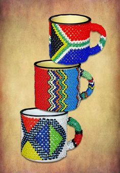 African Beaded Tin mugs handmade in South Africa. African Colors, African Crafts, Africa Art, African Artists, African Jewelry, Zulu, Household Items, Beadwork, African Fashion