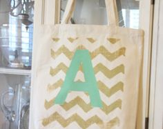 Popular items for monogram tote bag on Etsy