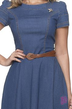 Short Sleeve Dresses, Dresses With Sleeves, Looks Style, Jeans Style, Ideias Fashion, Rose, Casual, Stylish Dresses, Fashion Stores