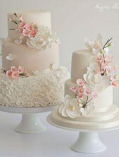 21 Super Ideas For Cupcakes Decoration Fondant Flowers Cherry Blossoms Fondant Wedding Cakes, Fondant Cakes, Cupcake Cakes, Cupcakes, Wedding Cakes With Flowers, Beautiful Wedding Cakes, Beautiful Cakes, Pretty Cakes, Elegant Wedding