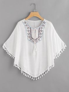 SheIn offers Embroidered T… Shop Embroidered Tie Neck Tassel Hem Cape Top online. SheIn offers Embroidered Tie Neck Tassel Hem Cape Top & more to fit your fashionable needs. Girls Fashion Clothes, Teen Fashion Outfits, Girl Fashion, Clothes For Women, Classy Fashion, Vintage Fashion, Fashion Tips, Stylish Dresses For Girls, Stylish Dress Designs