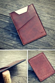 Leather custom document case, basketveawe stamp, natural brown leather