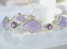 "QVC Bold Sterling Silver 925 Lavender Purple Jade Amethyst Station Bracelet 8"" #QVC #Statement"