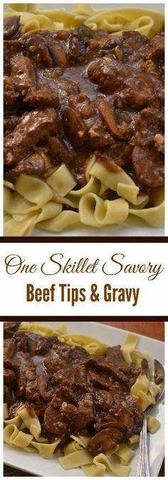 ne Skillet Savory Beef Tips and Gravy combines beef steak, mushrooms, onions and garlic in a rich creamy gravy that is lightly seasoned. It is quick to prepare and mouthwatering delicious.