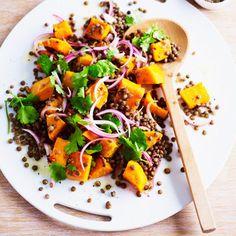 Warm chilli, pumpkin & lentil salad recipe, from 'Eat In'