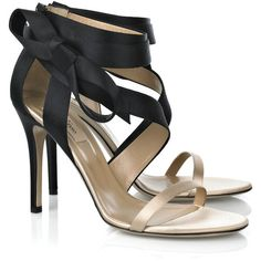 Valentino Bow-detail satin sandals ($815) ❤ liked on Polyvore