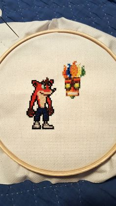 Crash Bandicoot cross stitch Cross Stitching, Cross Stitch Embroidery, Embroidery Patterns, Cross Stitch Patterns, Cross Stitch Games, Stitch Pictures, Crash Bandicoot, Geek Crafts, Sprites