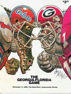 Florida Gators vs Georgia Bulldogs - one of our favorite games every year right here in Jacksonville, FL.and the Gators won this year! Georgia Bulldogs Football, Florida Gators Football, Gator Football, College Football, College Sport, Gators Vs Bulldogs, Football Stuff, Georgia Florida Game, Gator Bowl