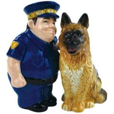 Policeman and German Shepard Police Dog K-9 Magnetic Salt and Pepper Shakers