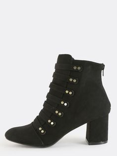 Studded Strappy Ankle Boots BLACK