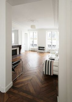 obsessed with this chevron wood floor!