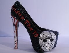 * * *Friday the / jason shoes / heels * * Uk Sizes * * * handmade Dream Shoes, Crazy Shoes, Me Too Shoes, Weird Shoes, Halloween Heels, Halloween Costumes, Halloween 2018, Shoe Boots, Shoes Heels