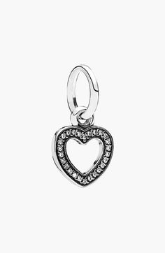 Women's PANDORA 'Symbol of Love' Heart Dangle Charm - Sterling Silver/ Clear Cz