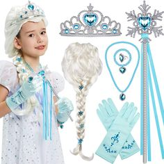 Tacobear Elsa Wig Frozen Elsa braid with Princess Tiara Princess Elsa Dress Up Costume Accessories for Kids Girls
