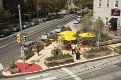Interim public plaza in Philadelphia via the NACTO design guide. Click for more examples & visit the slowottawa.ca boards >> http://www.pinterest.com/slowottawa/