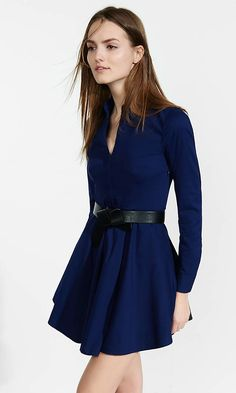Navy Stretch Cotton Fit And Flare Shirt Dress from EXPRESS
