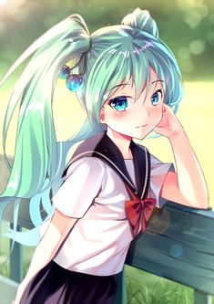 Anime picture vocaloid hatsune miku yan (nicknikg) single tall image blush looking at viewer fringe blue eyes twintails hair between eyes standing payot pleated skirt outdoors aqua hair blurry depth of field lens flare arm behind back 584638 en Manga Kawaii, Loli Kawaii, Kawaii Anime Girl, Anime Art Girl, Anime Girls, Anime Chibi, Sucubus Anime, Hetalia Anime, Vocaloid