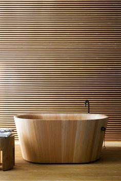 Wooden bath.