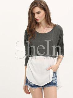 Grey White Color Block Dip Hem T-Shirt