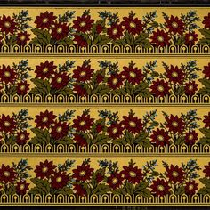 Burgundy Flowers Olive Leaves and Blue Buds on Pebble Embossed Gilt Background and Black Ground # Rolls: of border) Condition: Excellent, sli Antique Wallpaper, Original Wallpaper, Burgundy Flowers, Borders For Paper, Floral Border, Wallpaper Roll, Bohemian Rug, At Least, Color