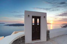 Doorway to Sunset, Santorini, Greece ♥ ♥ www.paintingyouwithwords.com