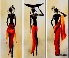 Afbeeldingsresultaat voor cuadros y laminalar africanas African American Art, African Women, Silk Painting, Woman Painting, Afrique Art, African Art Paintings, African Animals, Tribal Art, Black Art