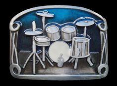 DRUM DRUMS DRUMSET BLUE MUSIC MUSICAL INSTRUMENTS BELT BUCKLES BUCKLE