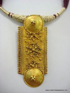*Vintage tribal 20K yellow gold pendant necklace form Rajasthan India restrung in a traditional style.